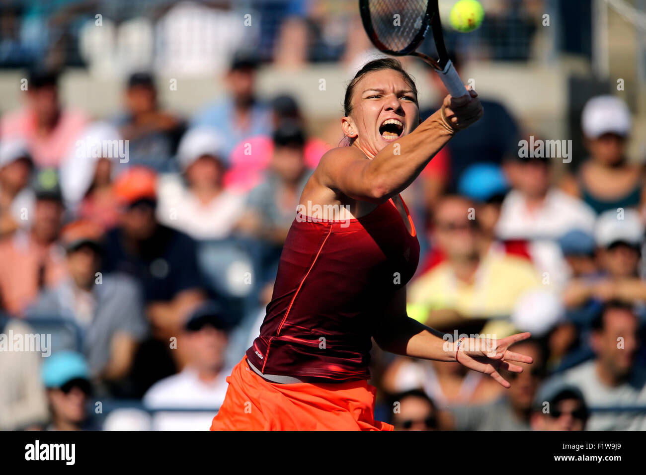 New York, USA. 7th September, 2015. Simona Halep, the number 2 seed from Romania, during her fourth round match - Stock Image