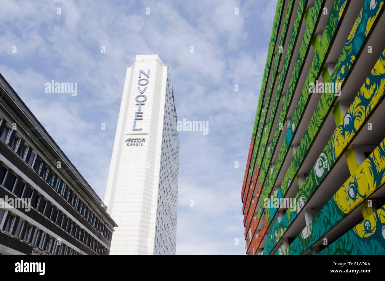 Novotel Hotel and graffiti car park in perspective, Warsaw, Warszawa, Poland, Polska, Europe, EU, PL - Stock Image