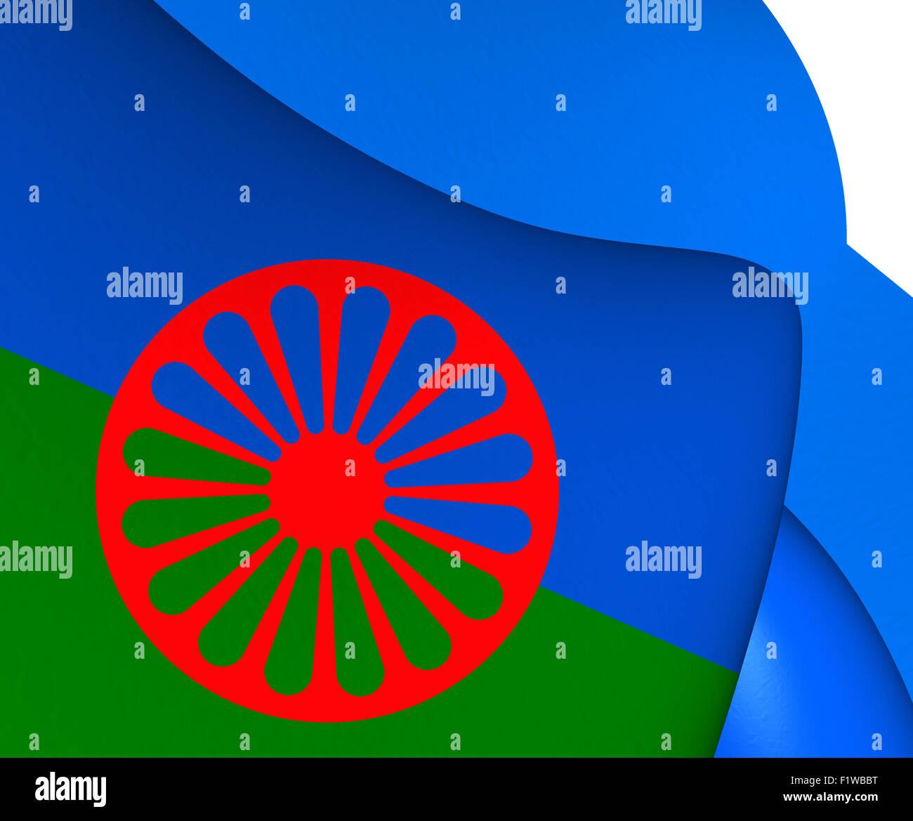 Romani People Flag. Close Up. - Stock Image