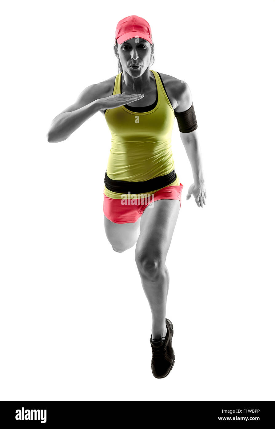 Runner woman's silhouette in action. Studio shot. - Stock Image