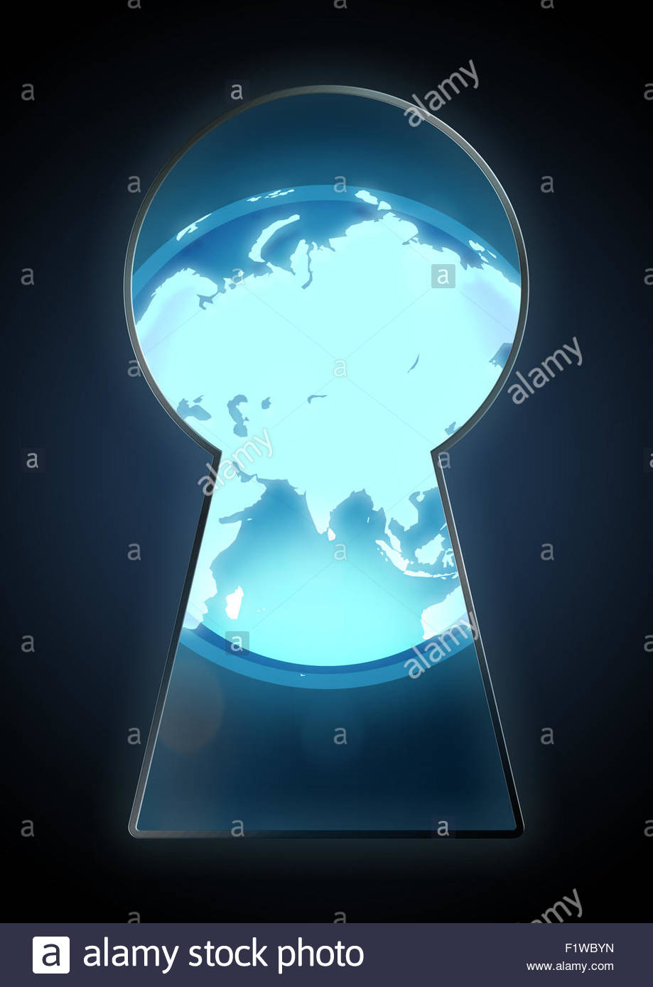 Illustration of a globe seen through a key hole - Stock Image