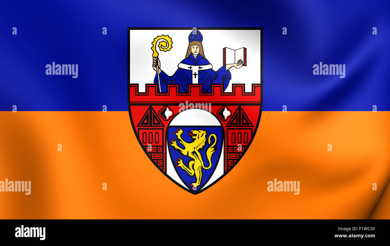 3D Flag of the Siegen, Germany. Close Up. - Stock Image