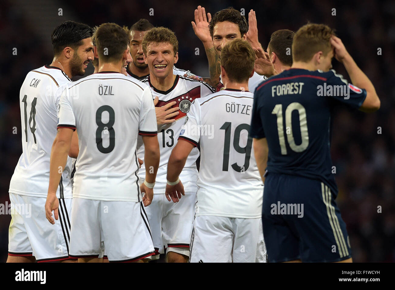 Glasgow, Britain. 07th Sep, 2015. Germany's Emre Can (L-R), Mesut Ozil, Jerome Boateng Thomas Mueller, Mario - Stock Image