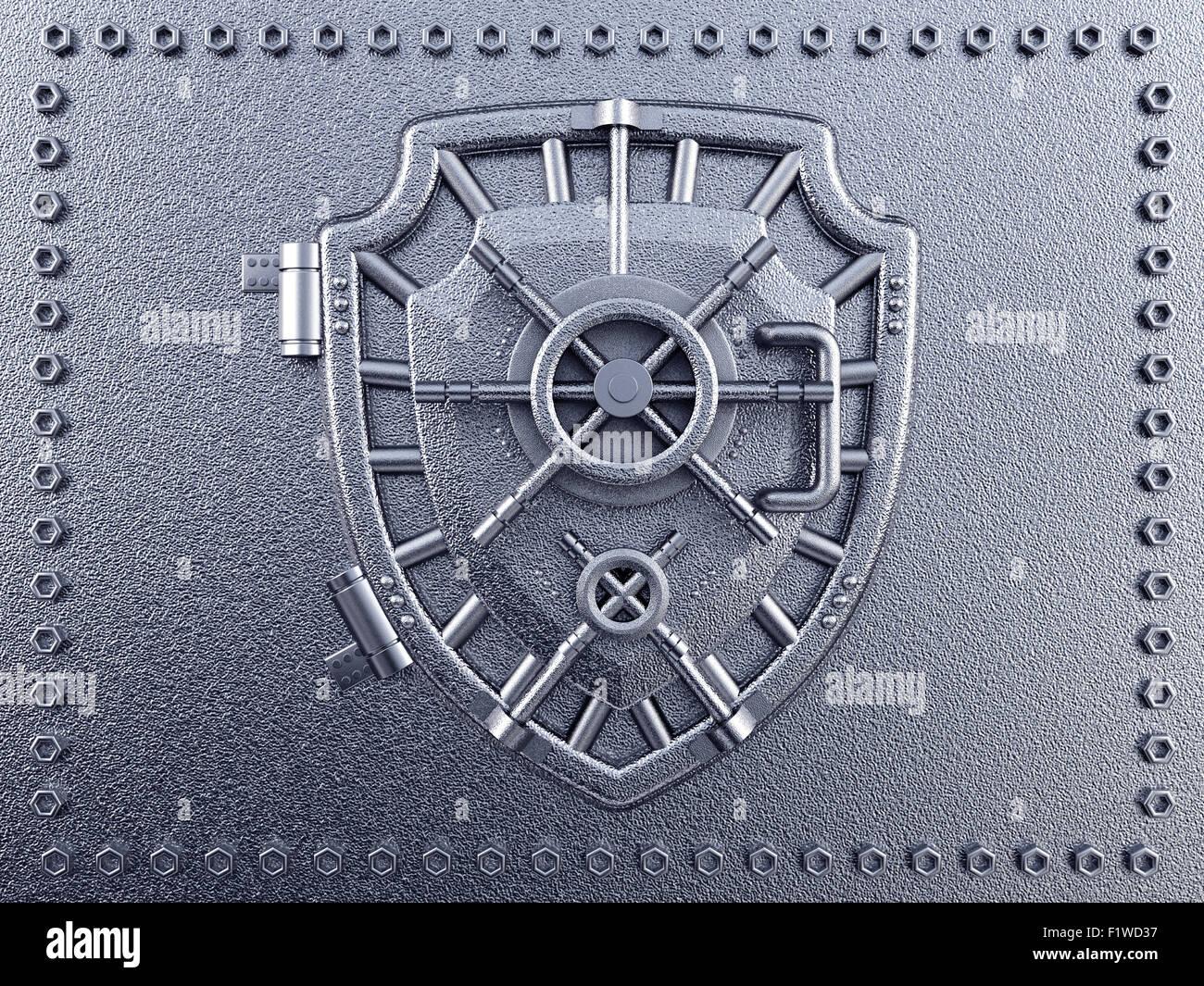 Metal vaulted door with shield shape - Stock Image