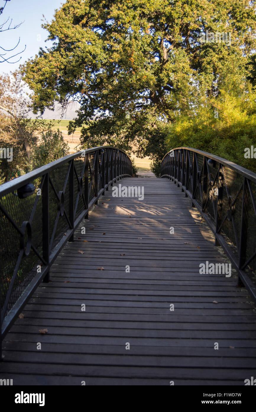 Bridge over the Eerste River at the Spier Hotel in Stellenbosch Stock Photo