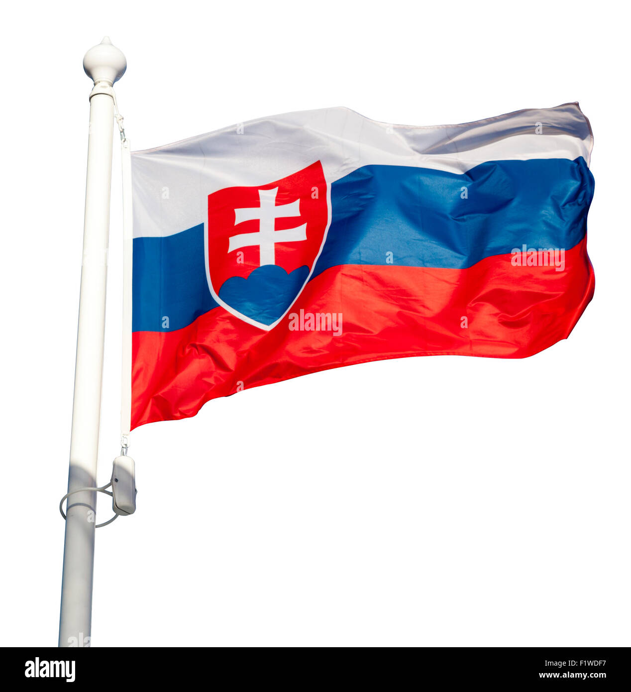 Waving flag of Slovakia isolated on white background with clipping path - Stock Image