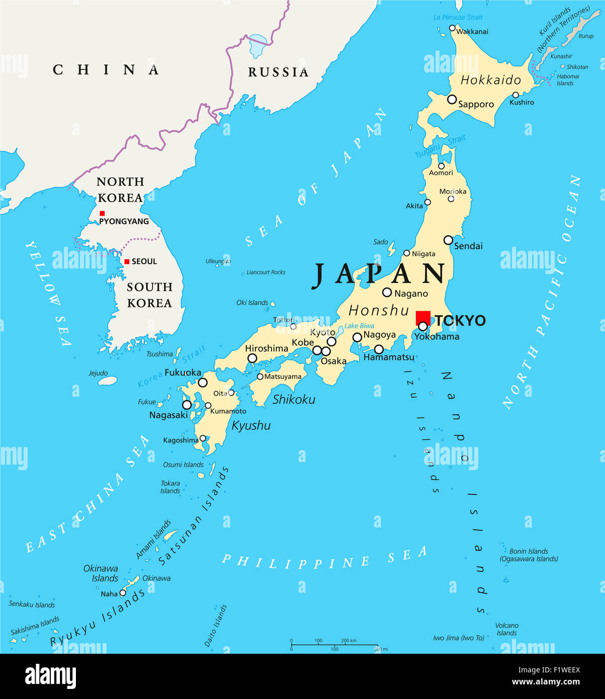 tokyo on japan map Japan Political Map With Capital Tokyo National Borders And Stock