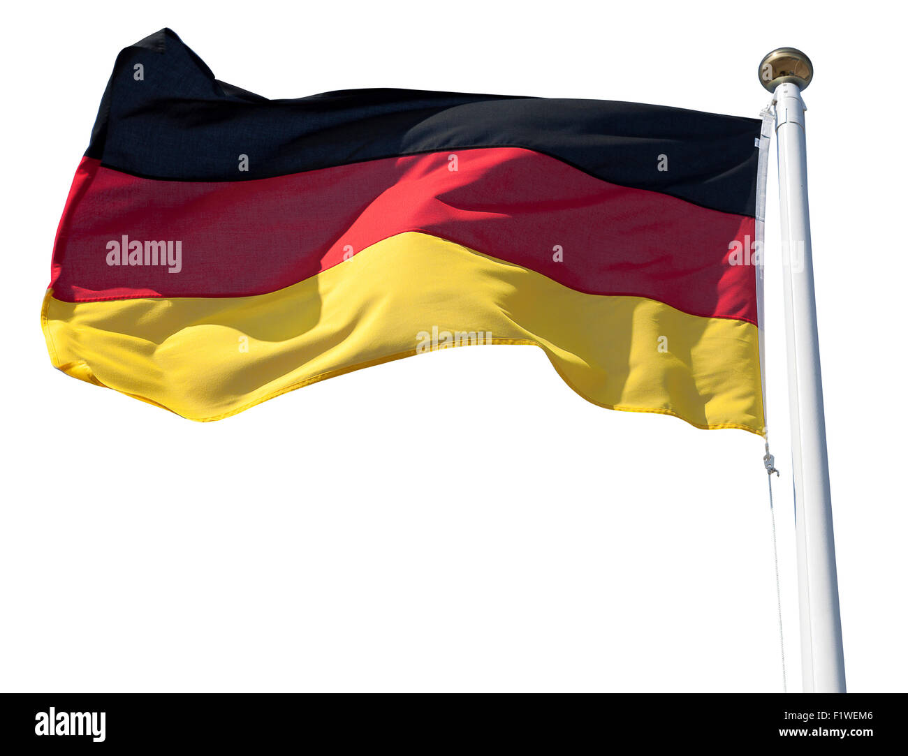 Germany flag flying in the wind isolated on white with clipping path - Stock Image