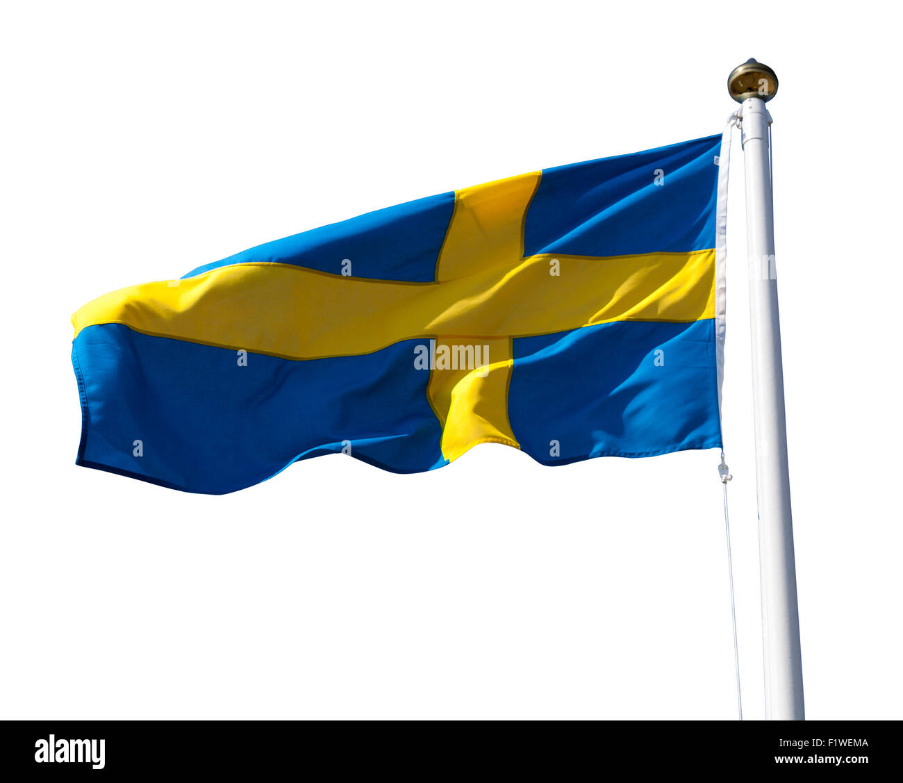 Sweden flag flying in the wind isolated on white with clipping path - Stock Image