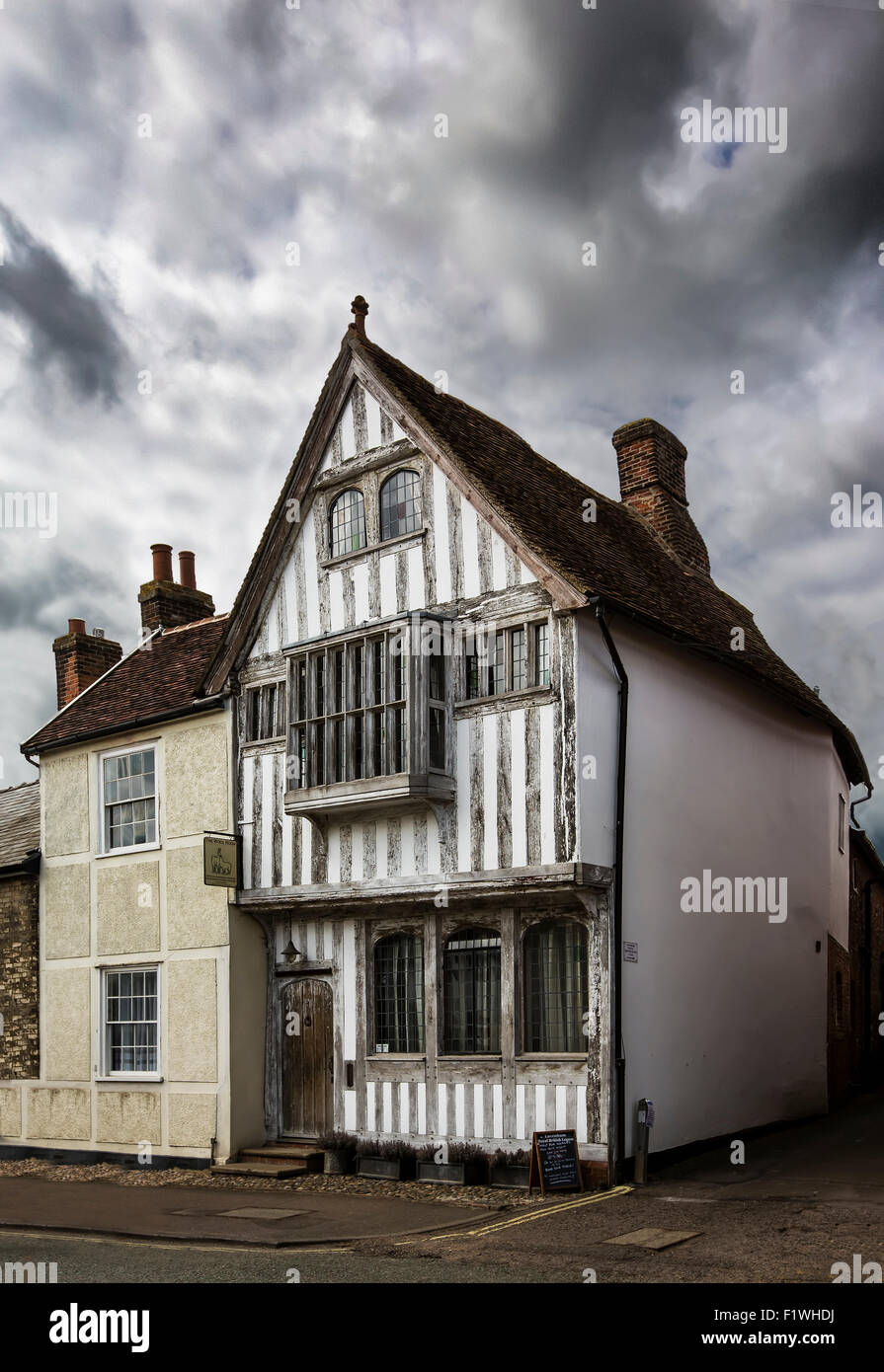 Lavenham, a village and civil parish in Suffolk, England  noted for its 15th-century church, half-timbered medieval - Stock Image