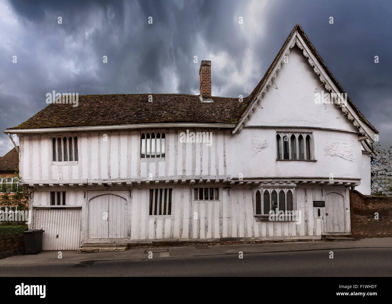 Lavenham, a village and civil parish in Suffolk, England  noted for its 15th-century church, half-timbered medieval Stock Photo