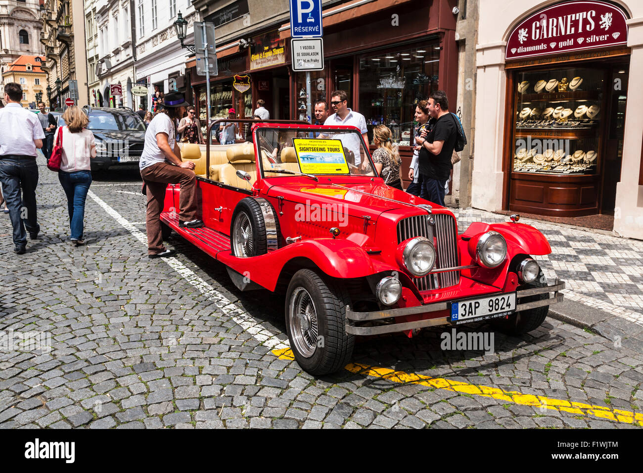 Retro style car used for tourist sightseeing excursions, Prague Cezch Republic. - Stock Image