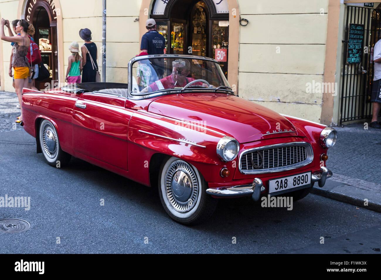 Old Red Skoda Felicia convertible on a Prague street, Czech Republic. - Stock Image