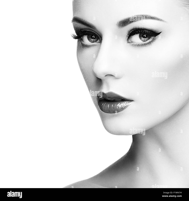 Beautiful woman face. Perfect makeup. Beauty fashion. Eyelashes. Cosmetic Eyeshadow - Stock Image