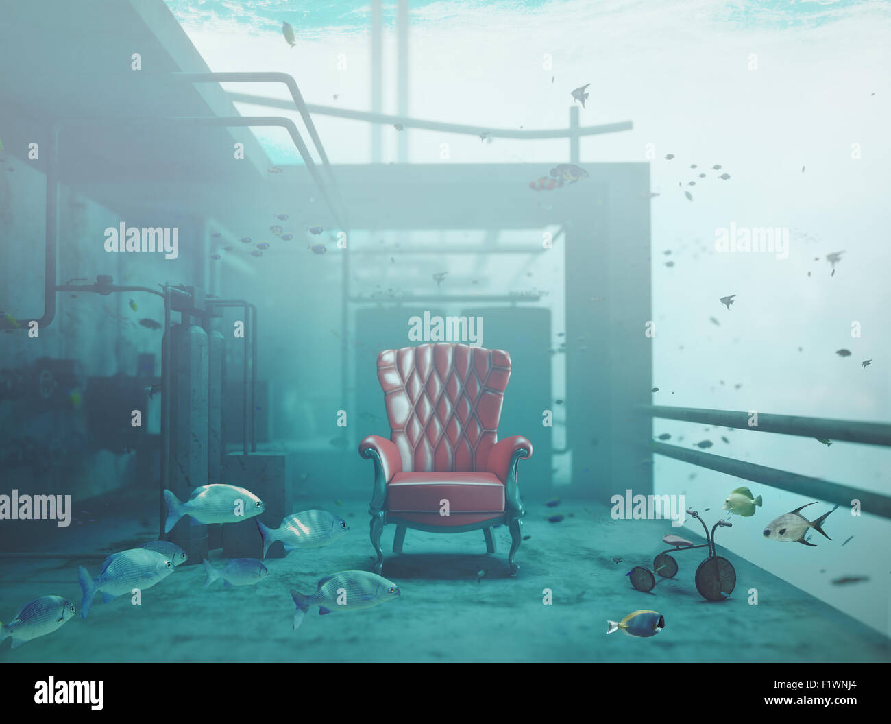 red luxury armchair underwater. CG and photo compilated concept - Stock Image