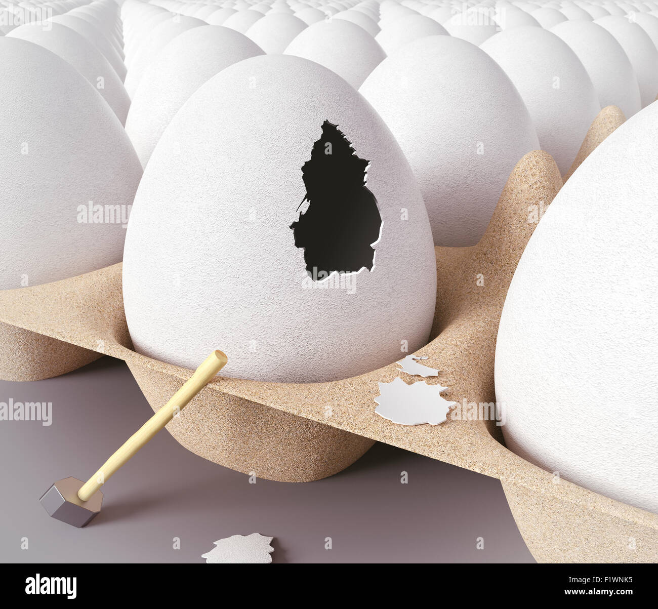 Escape from the egg. 3d concept - Stock Image