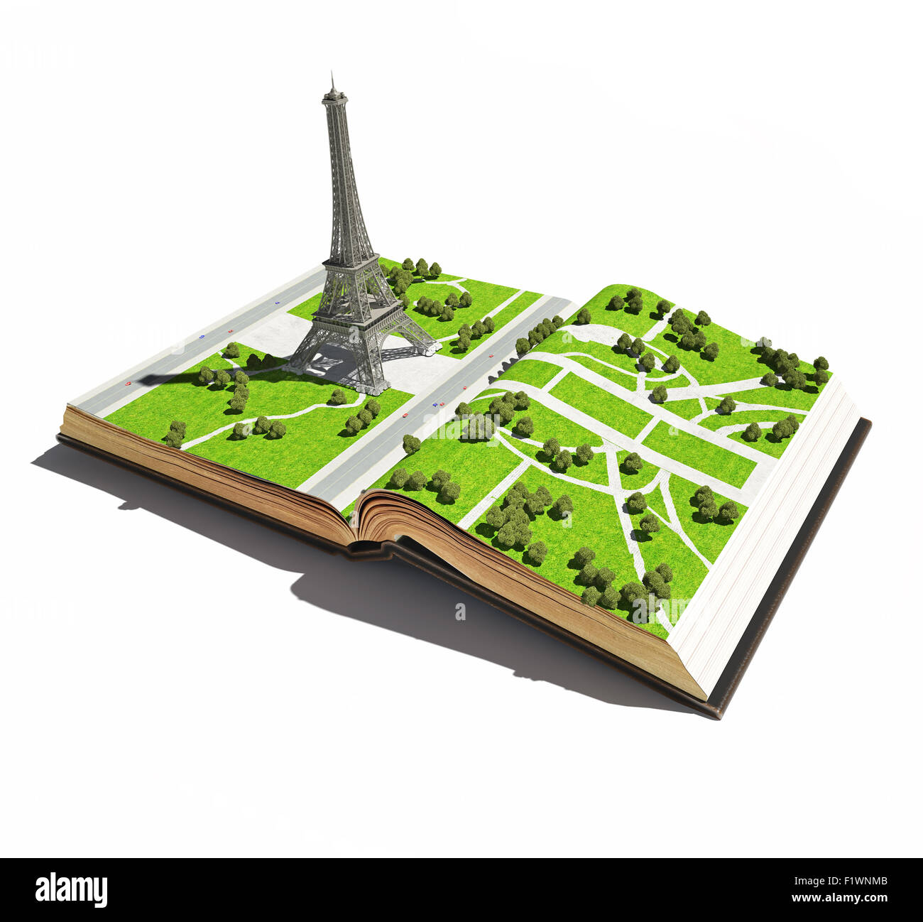 Paris  in the the  open book. 3d concept - Stock Image