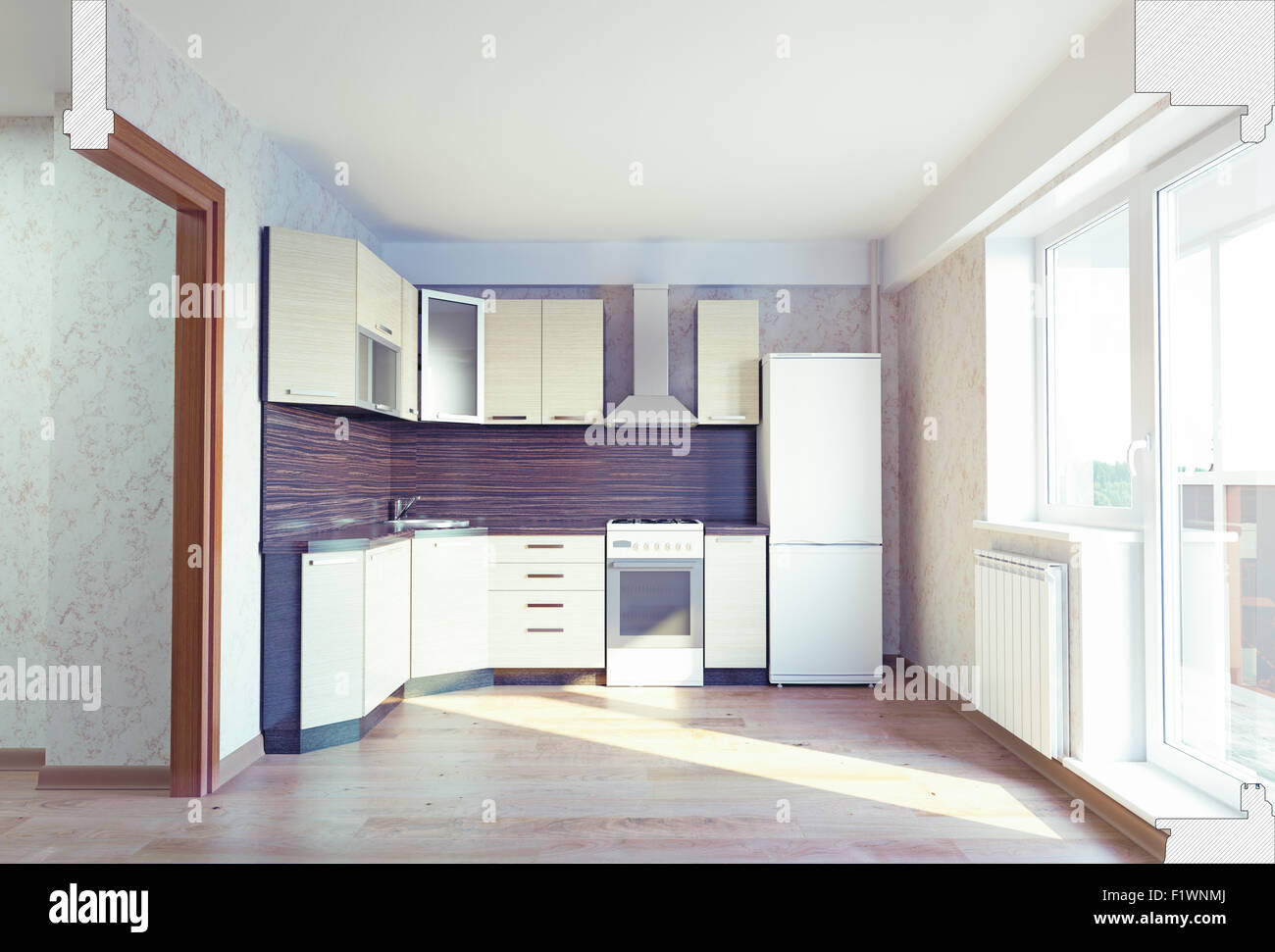 modern kitchen interior with cut section of the room. 3 concept ...