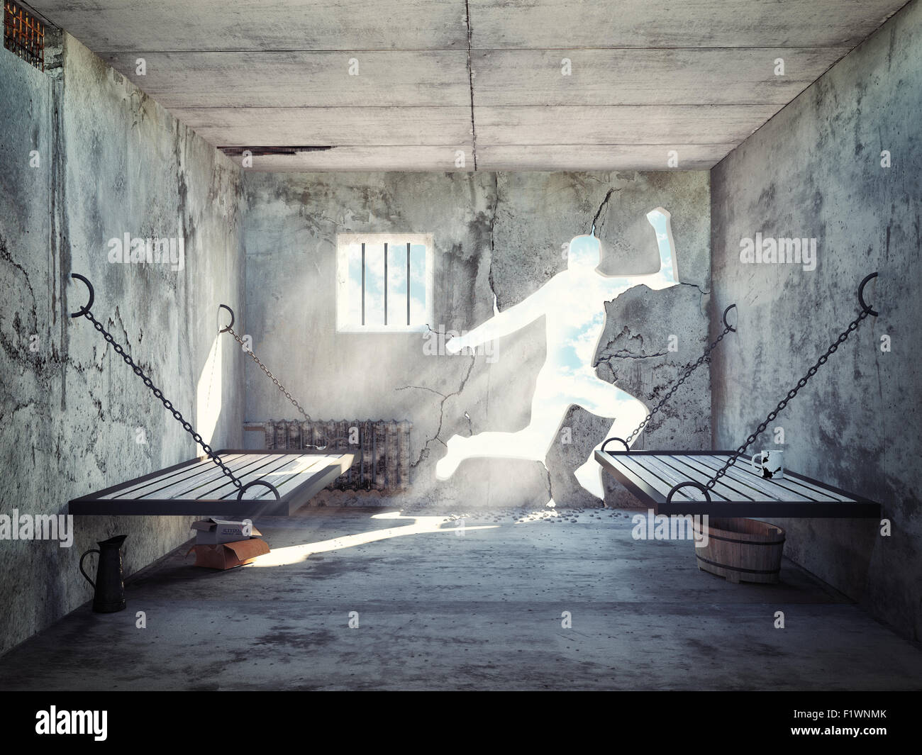 escape from a prison cell. 3d concept - Stock Image