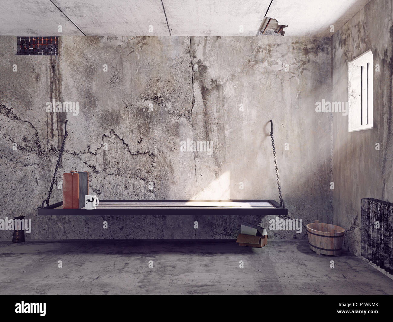dirty jail cell interior. 3d concept - Stock Image