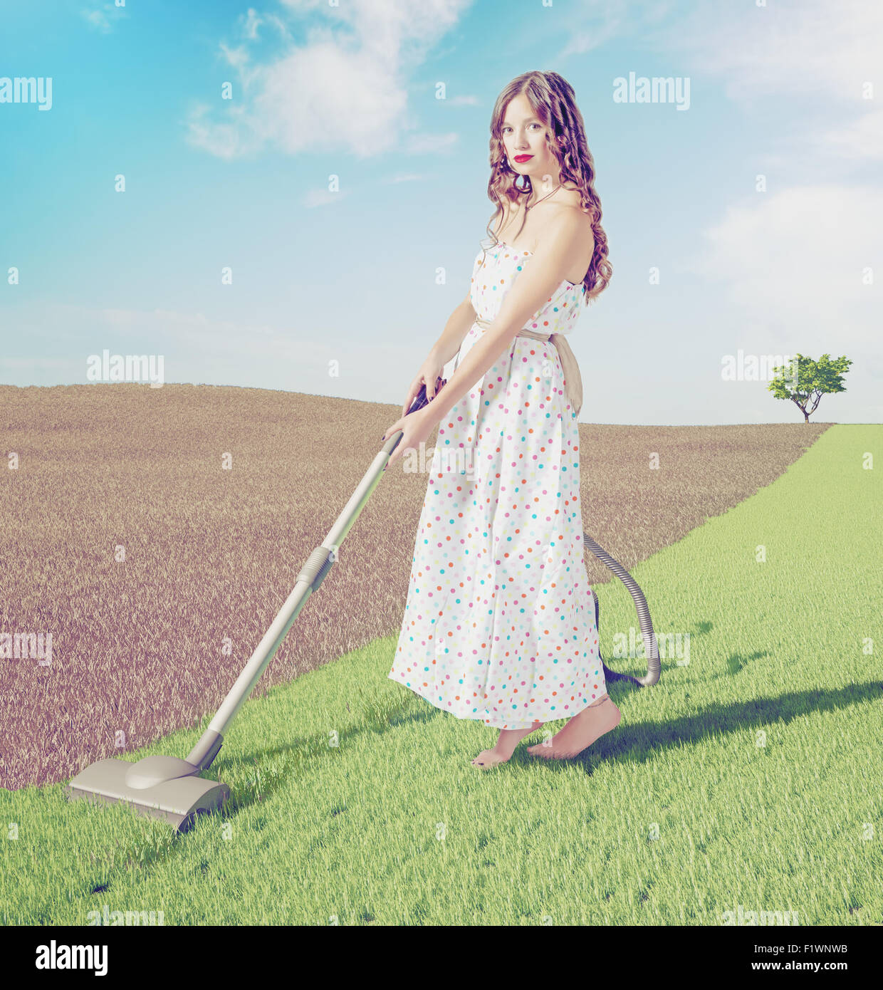 Young woman cleaning natural green grass  in wild  landscape. Creative concept photo combinated - Stock Image
