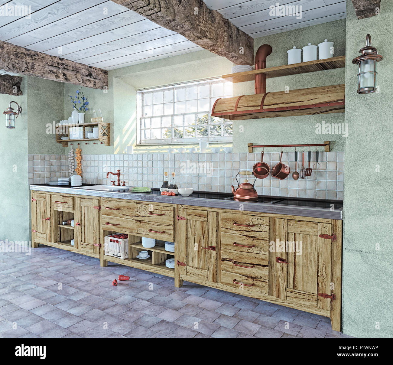 beautiful old-style kitchen interior  3D concept Stock Photo