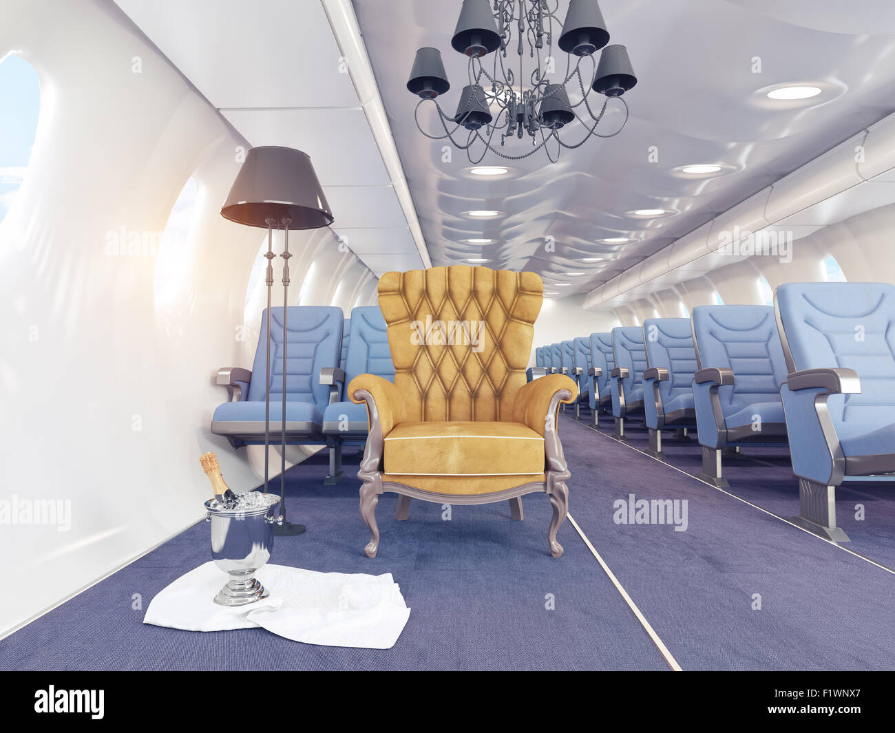 luxury armchair in airplane cabin. 3d creativity concept - Stock Image