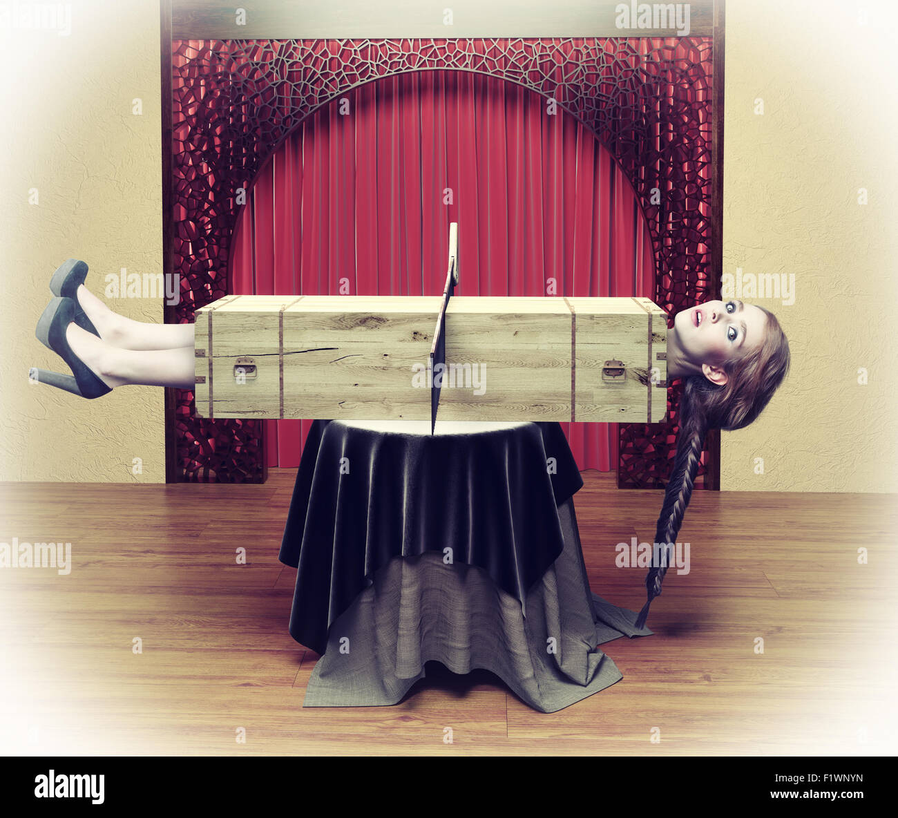 Magician sawing a woman with a saw.Photo combination concept - Stock Image