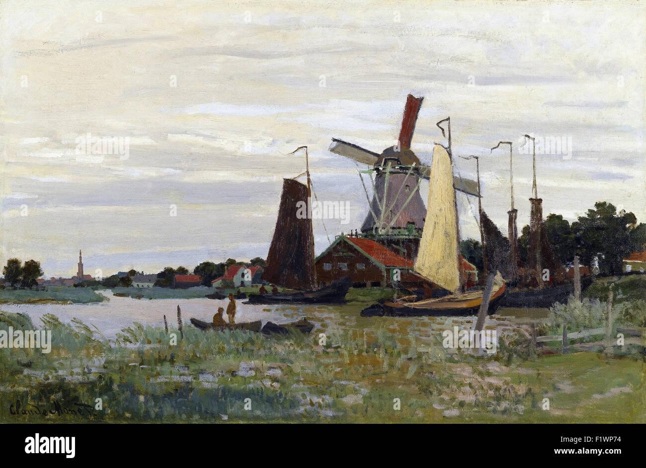 Claude Monet - Un Moulin à Zaandam - Stock Image