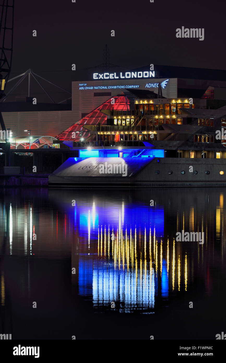 ExCeL London and Sunborn yacht hotel, Royal Victoria Dock, London Borough of Newham, London E16, United Kingdom - Stock Image