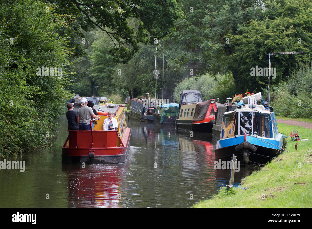 Narrow boats on the Staffordshire and Worcestershire Canal near Kinver. UK Stock Photo