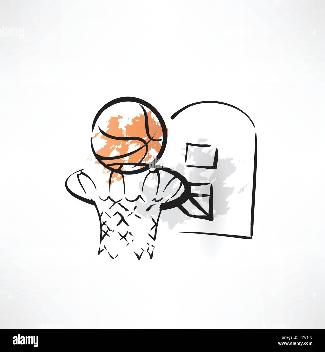 basketball grunge icon - Stock Vector