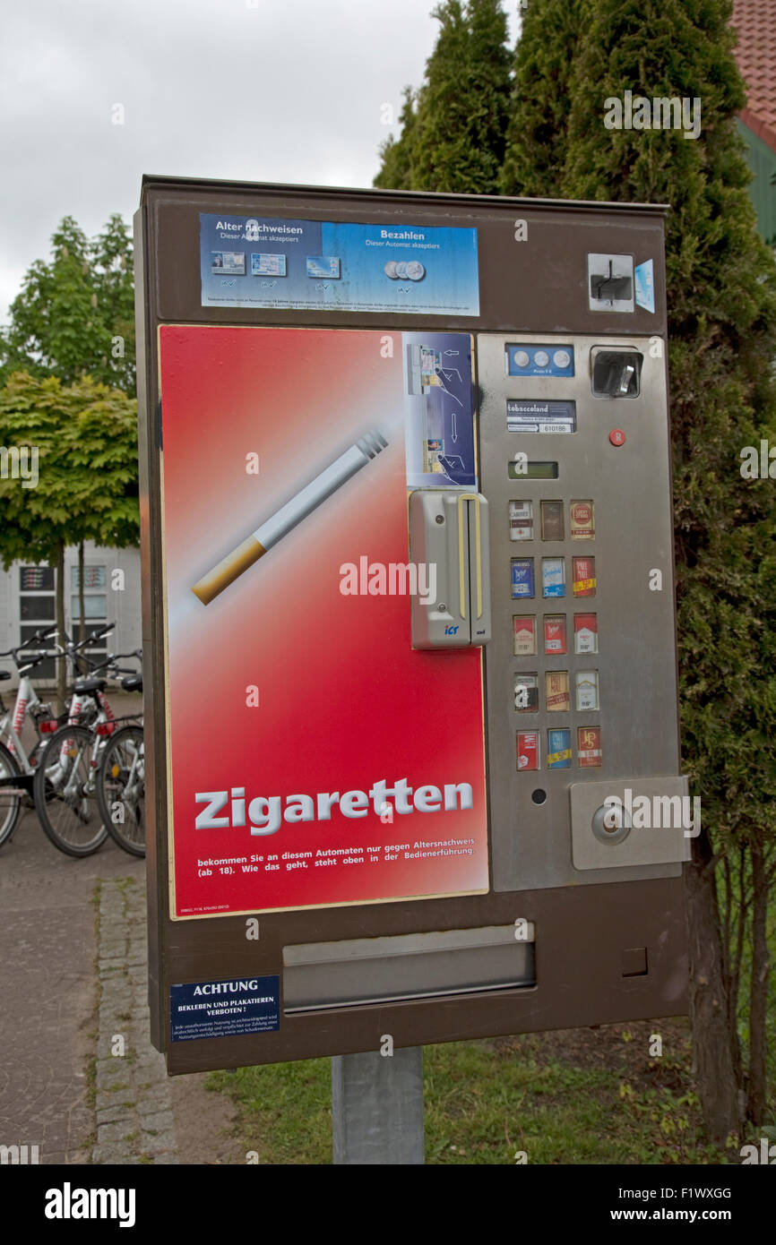 Automatic cigarette vending machine Zingst Northern Germany - Stock Image