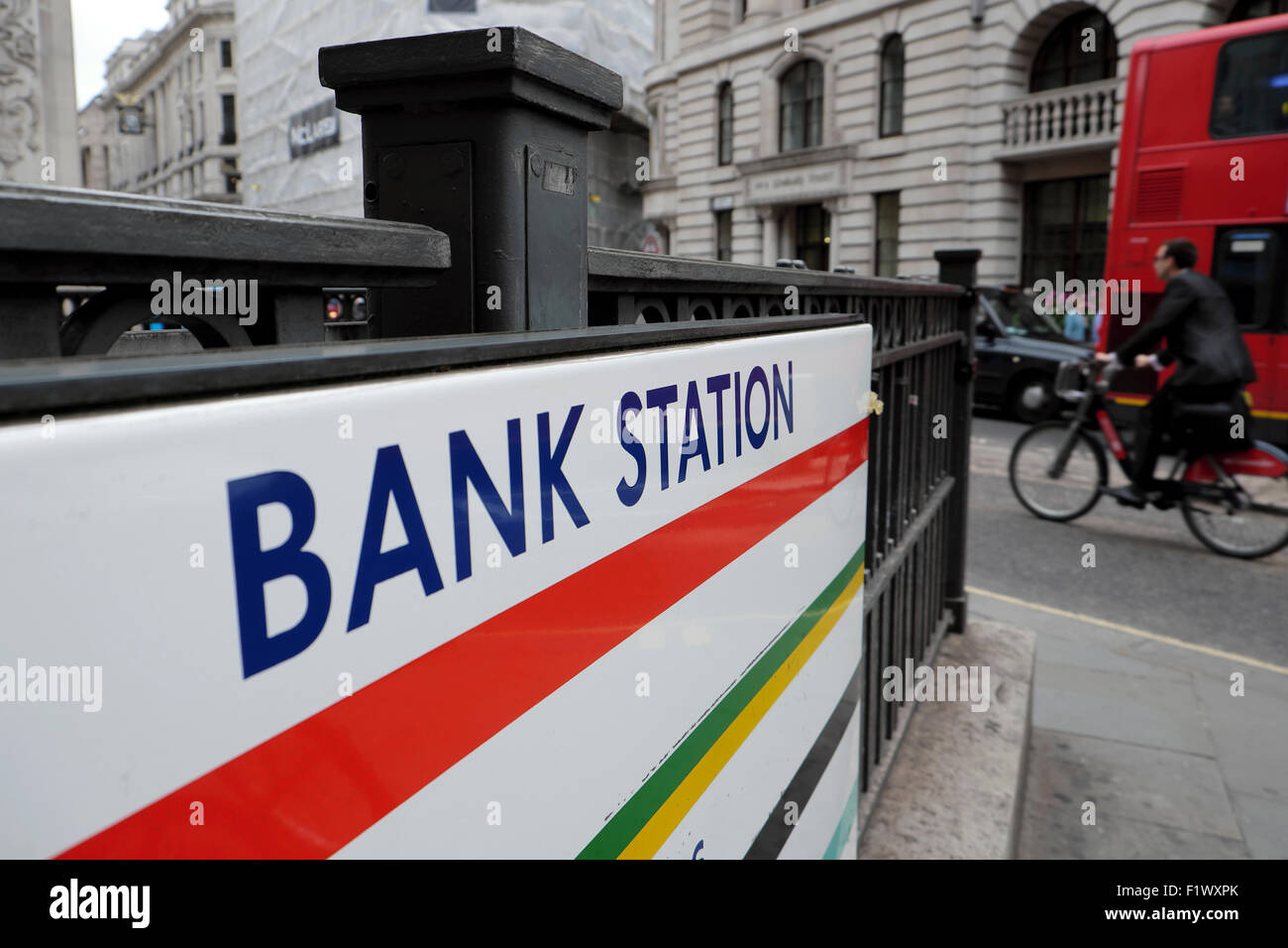 Bank Station underground sign in Lombard Street in the City of London UK  KATHY DEWITT - Stock Image