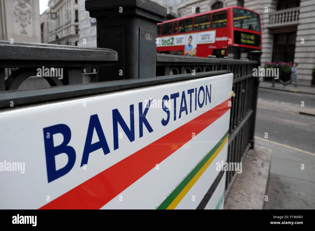 Bank Station underground sign in Lombard Street in the City of London EC4 UK  KATHY DEWITT - Stock Image