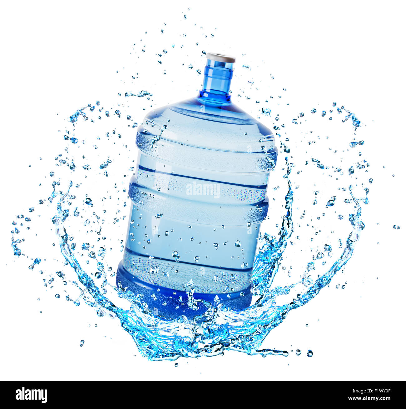 big water bottle in water splash isolated on white background. - Stock Image