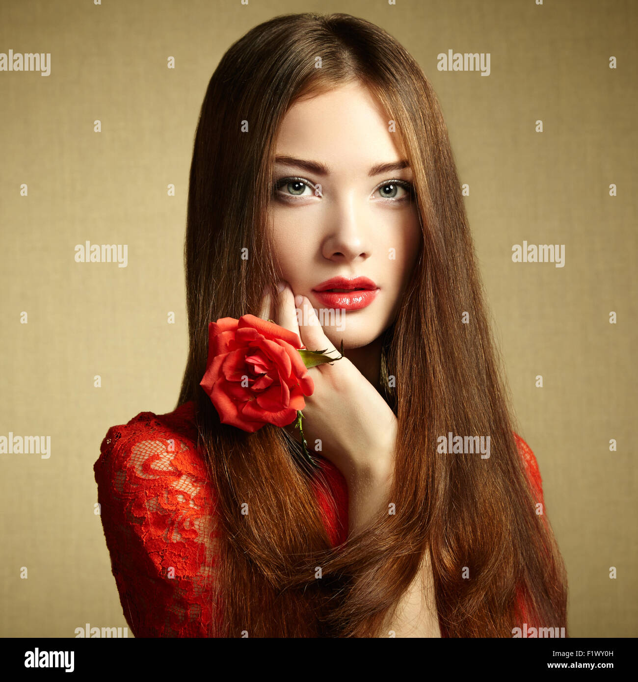 Portrait of beautiful dark haired woman with flowers fashion photo portrait of beautiful dark haired woman with flowers fashion photo izmirmasajfo