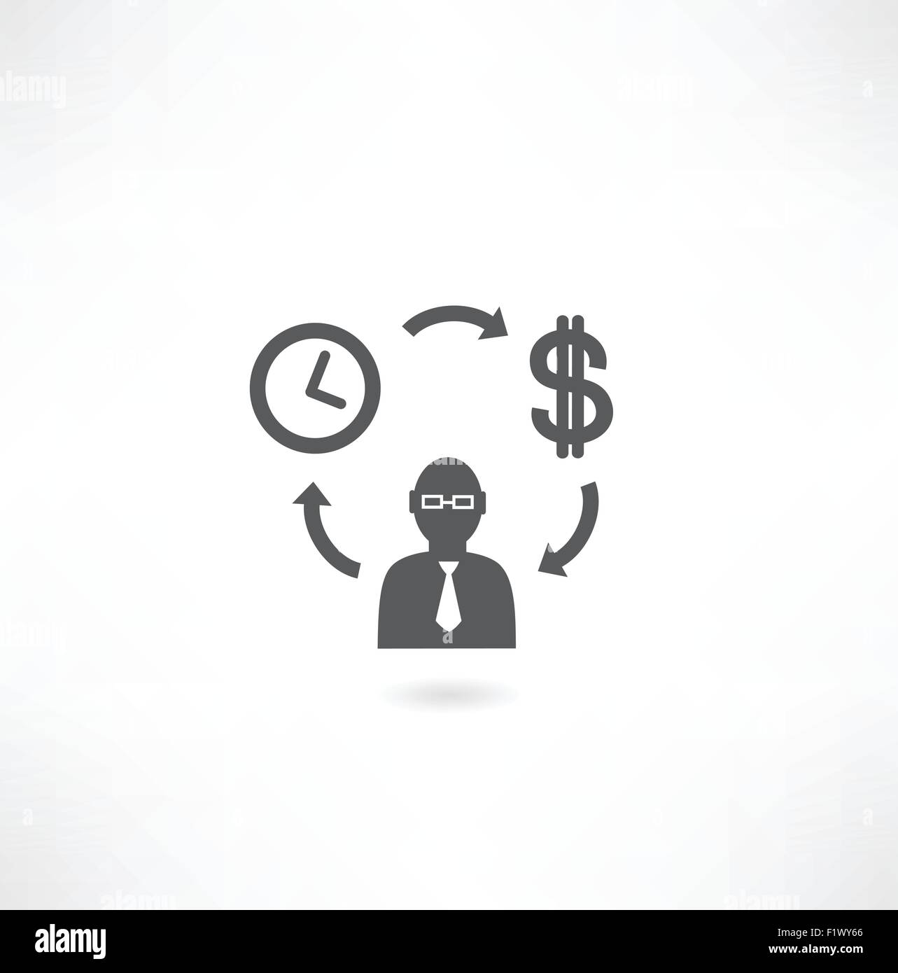 cycle man, money and time icon - Stock Vector