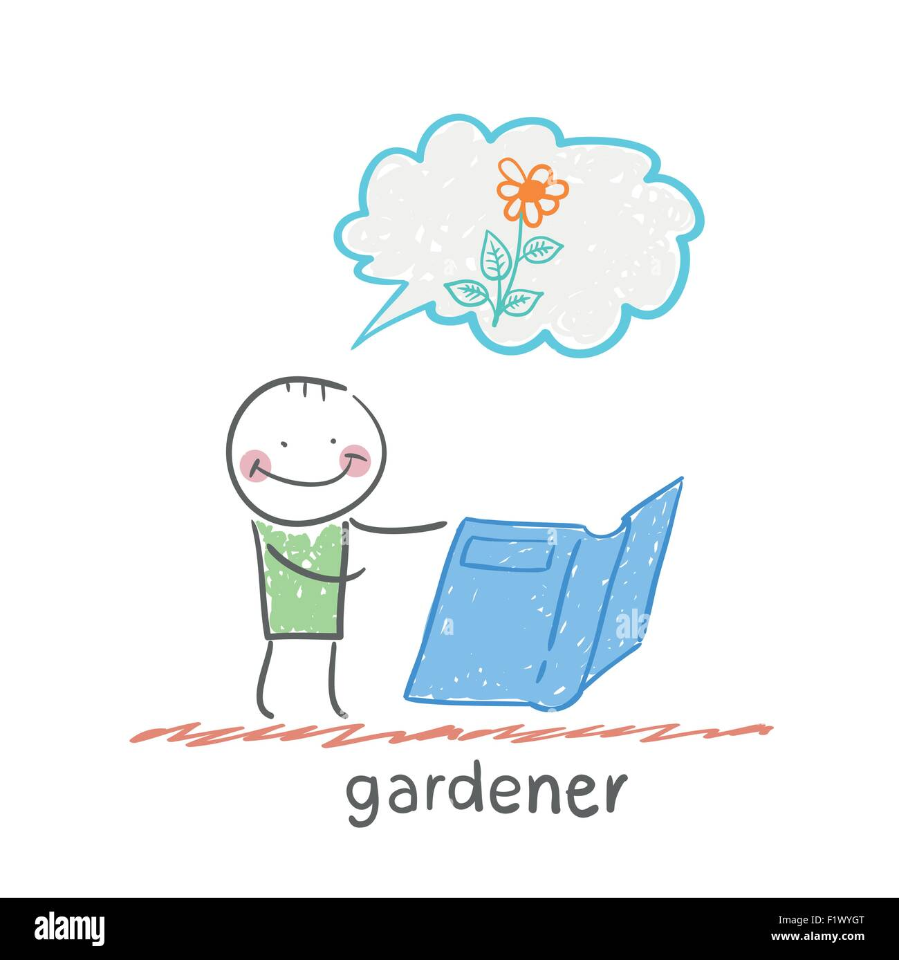 gardener . Fun cartoon style illustration. The situation of life. - Stock Image