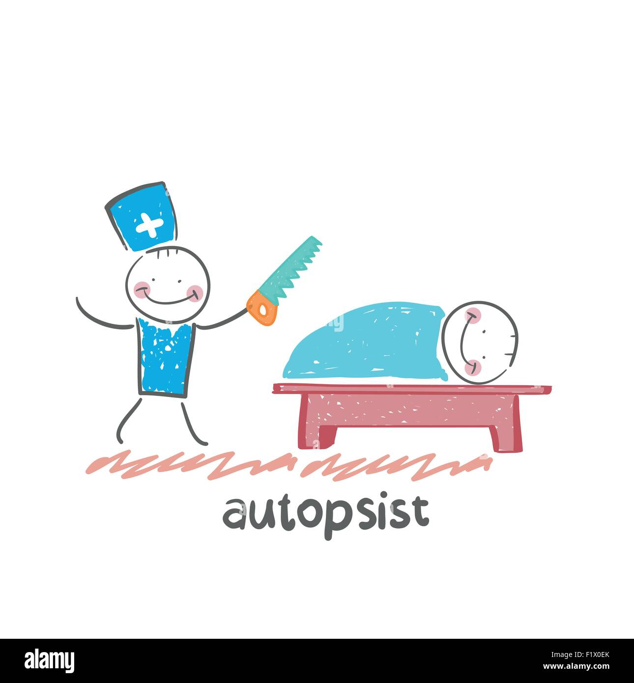 autopsist with a saw at work. Fun cartoon style illustration. The situation of life. - Stock Vector