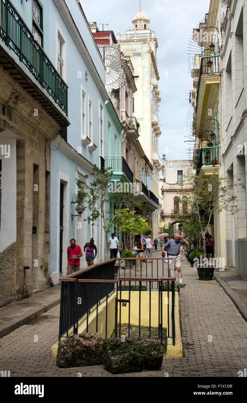 Havana Calle Teniente Rey in City Centre near Plaza Vieja - Havana Cuba - Stock Image
