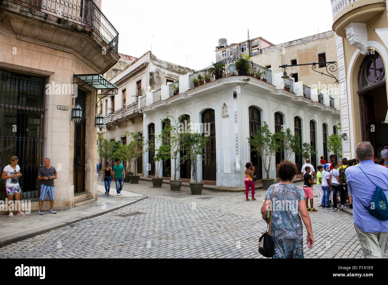 Plaza Vieja and Cafe Taberna  in Havana - Cuba - Stock Image