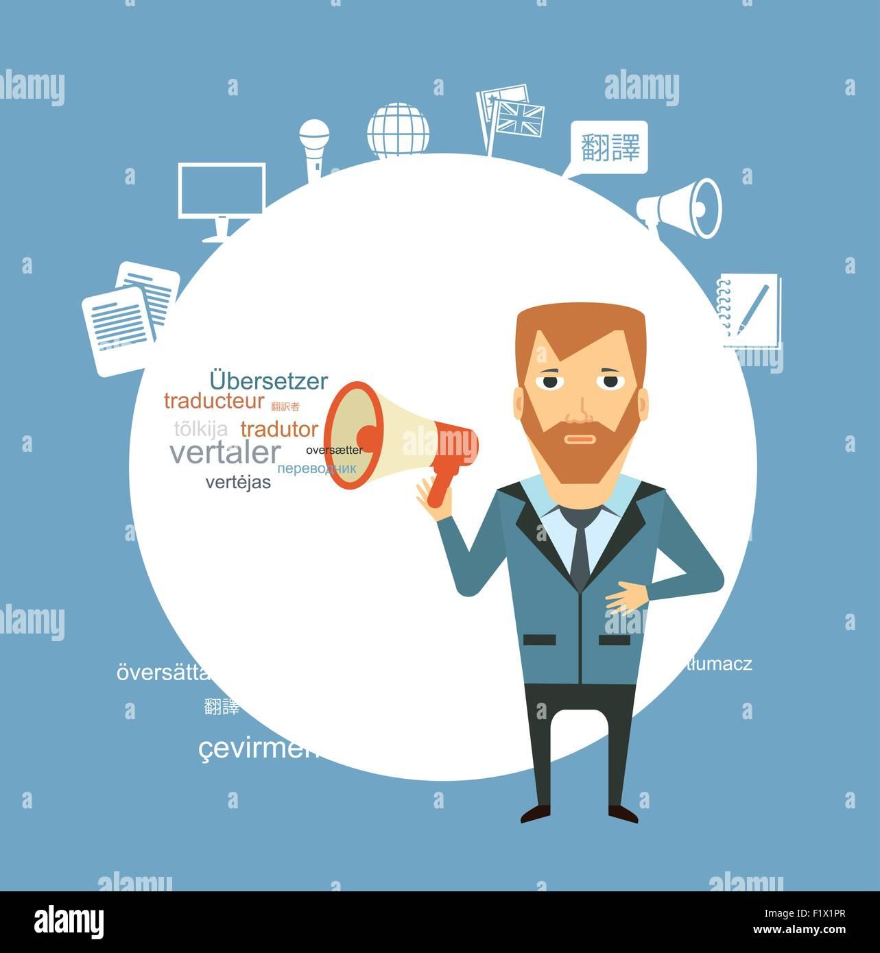translator  says in speaker illustration. Flat modern style vector design - Stock Image