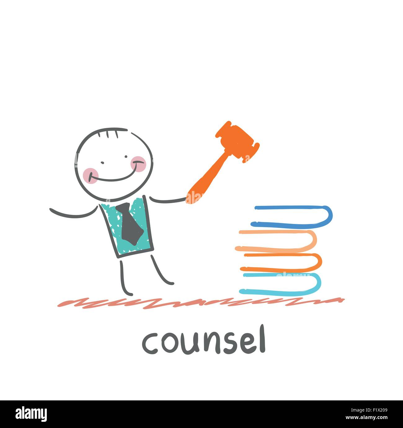 counsel . Fun cartoon style illustration. The situation of life. - Stock Image