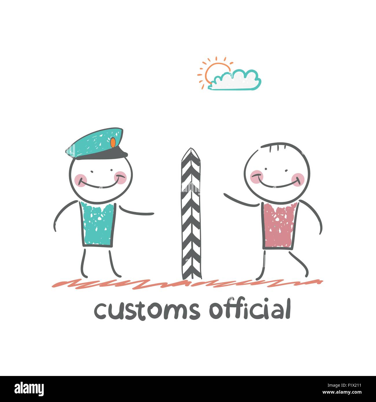 customs officer. Fun cartoon style illustration. The situation of life. - Stock Image