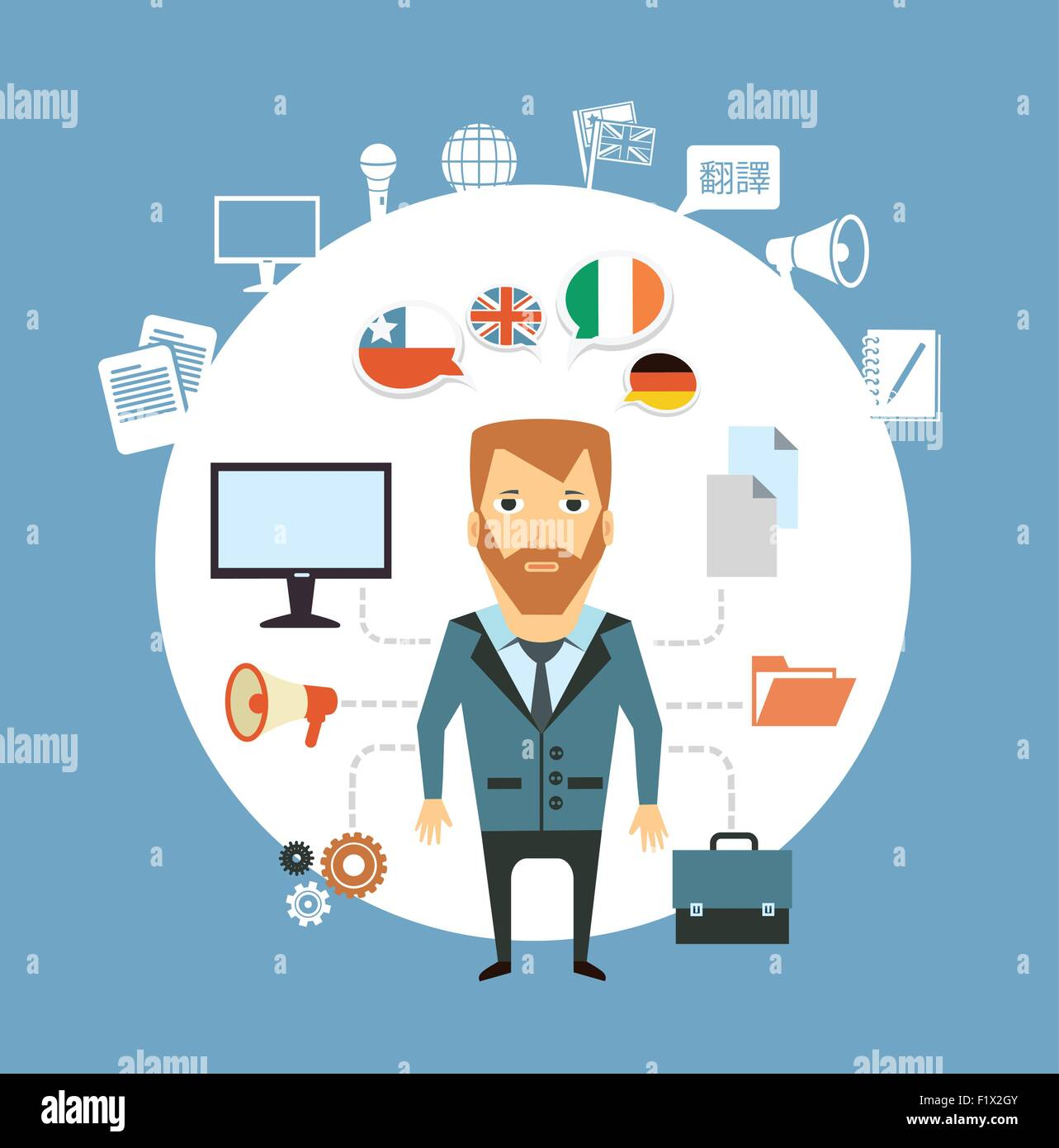 translator works at the computer  illustration . Flat modern style vector design - Stock Image