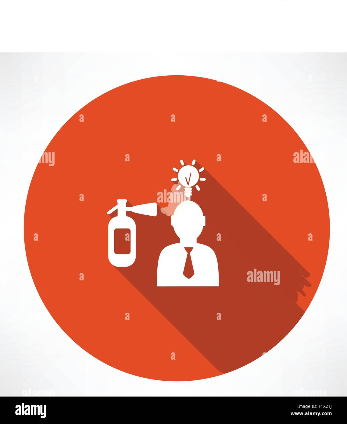 fire extinguisher extinguishes the idea of man icon - Stock Vector