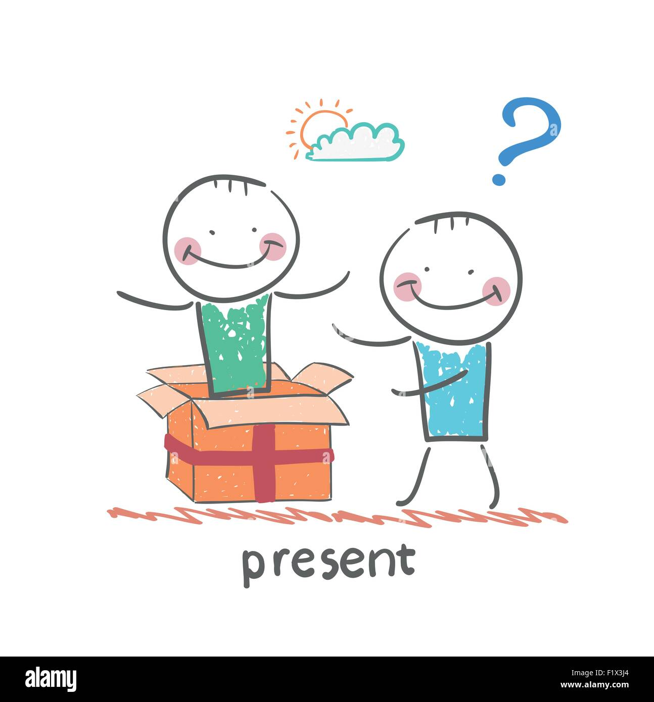 man received a gift from another person - Stock Image