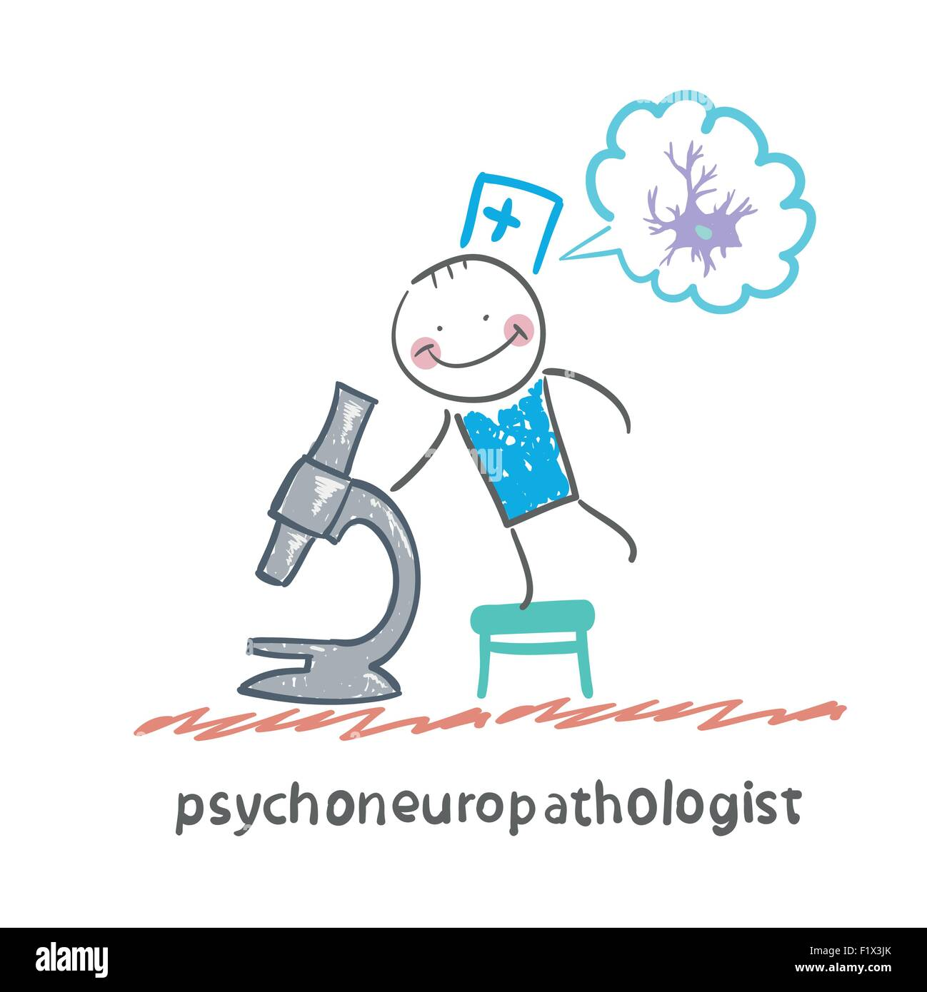 psychoneuropathologist  looking through a microscope and thinks of nerve cells - Stock Vector