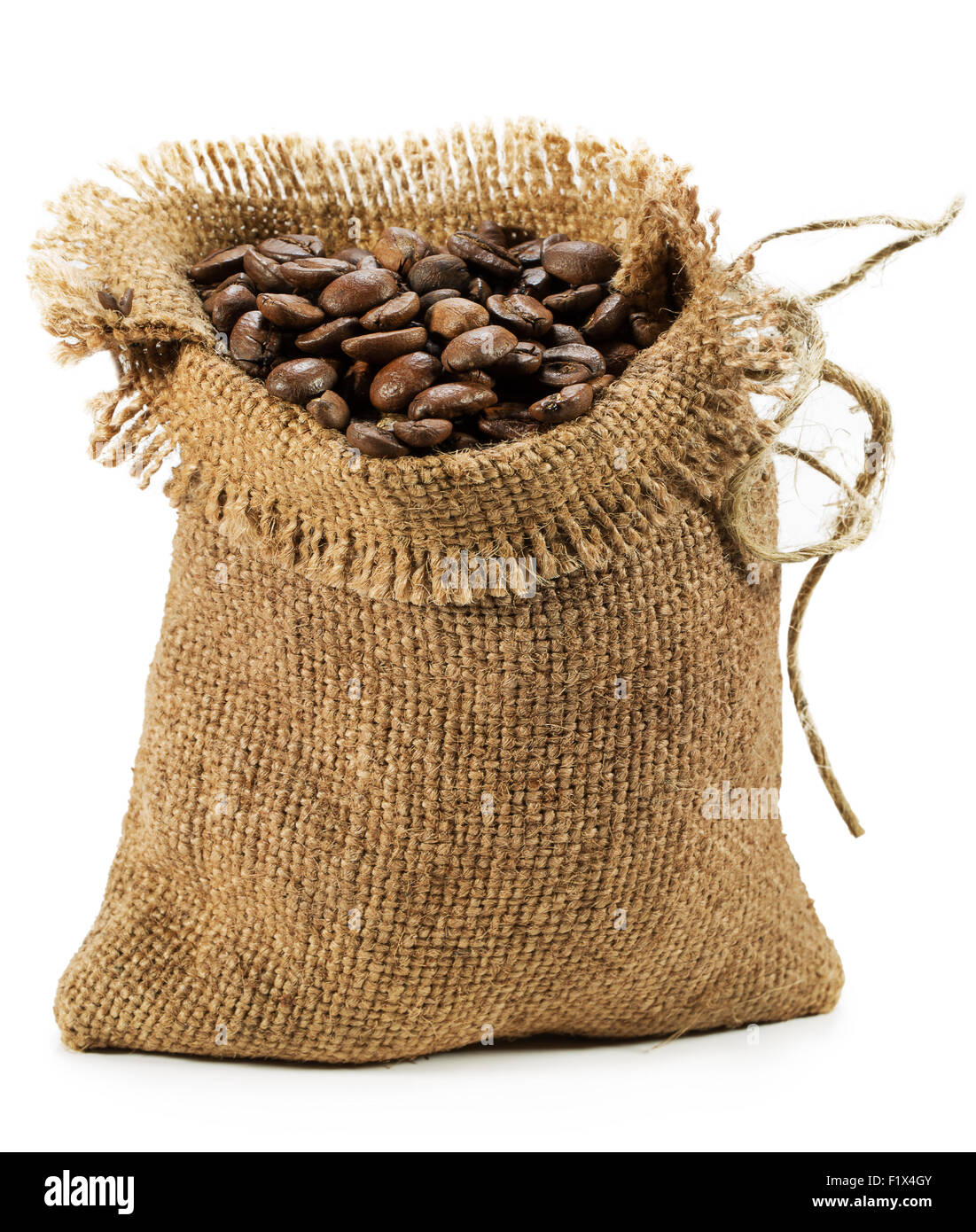 bag with coffee beans isolated on the white background. - Stock Image